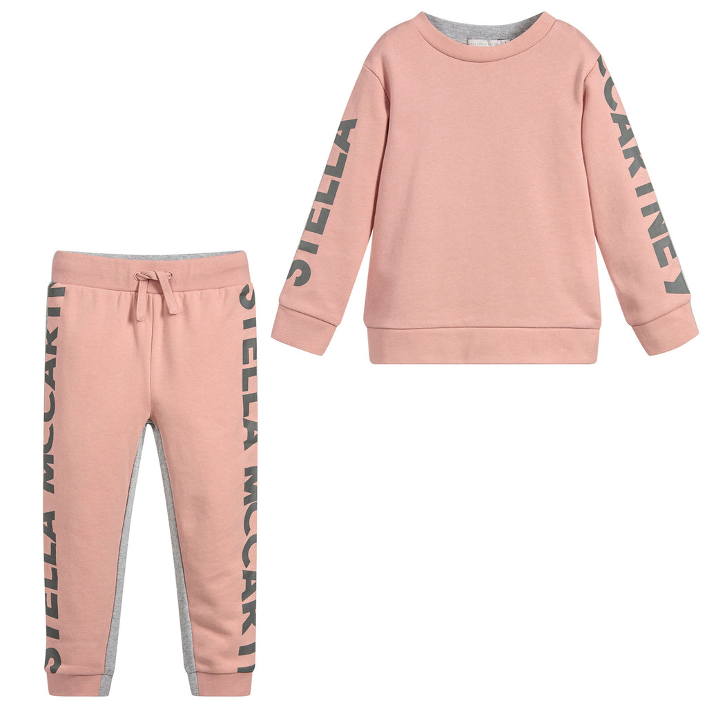 Stella McCartney Girls Pink and Grey Logo Sweatsuit
