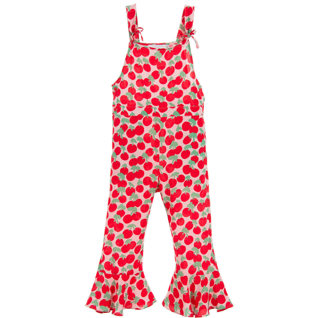 Girls Pink and Red Cherry Lightweight Jumpsuit