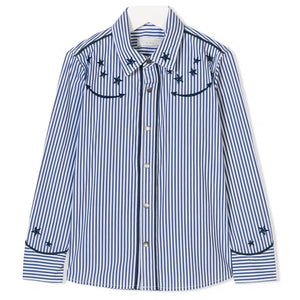 Girls Star Embroidered Striped Shirt