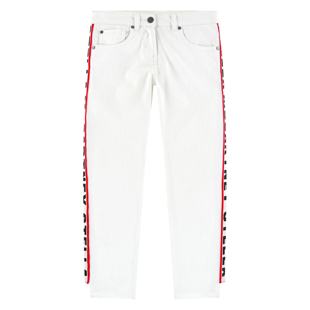 Girls White Side Logo Strip Jeans