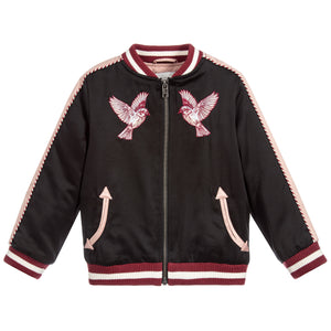 Stella McCartney Girls Black and Pink 'Willow' Bomber Jacket