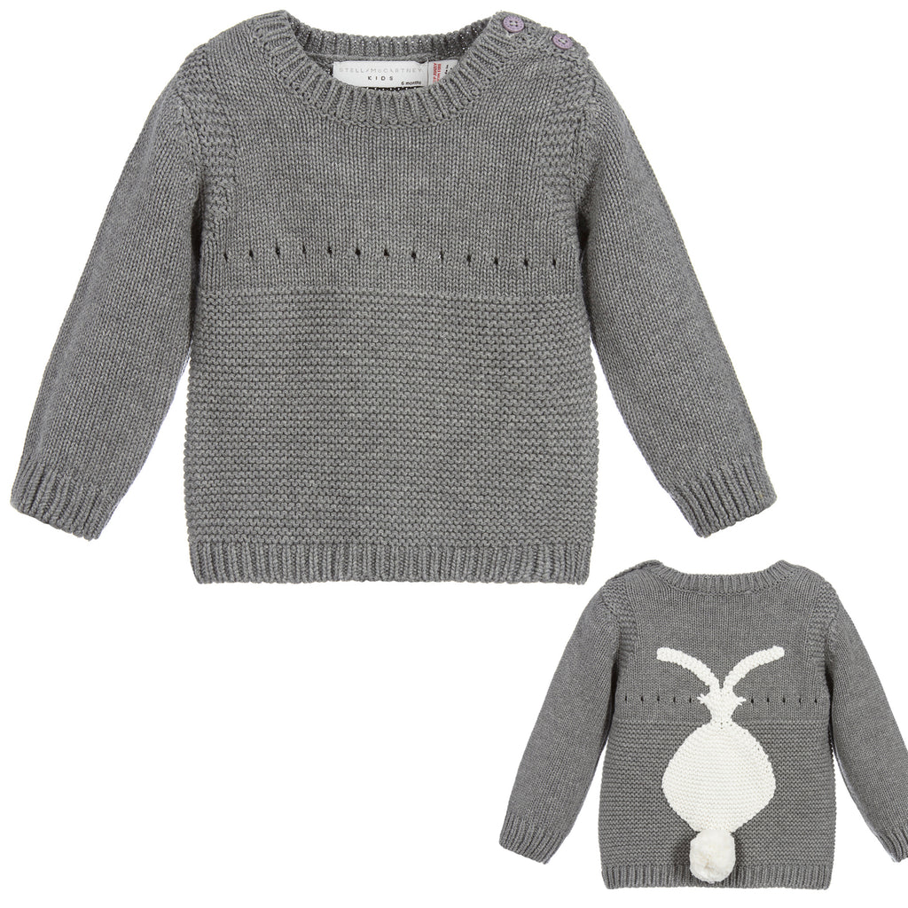 Stella McCartney Baby Girls Grey Knitted Bunny Sweater (unisex)