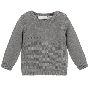 Baby Girls Grey Knitted Bunny Sweater (unisex)