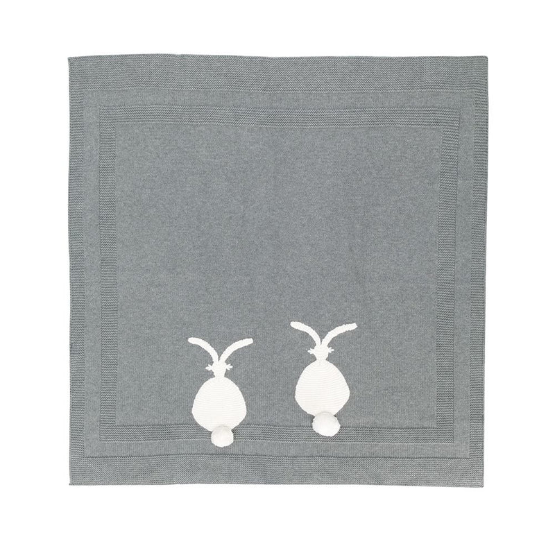 Grey Knitted Bunny Blanket