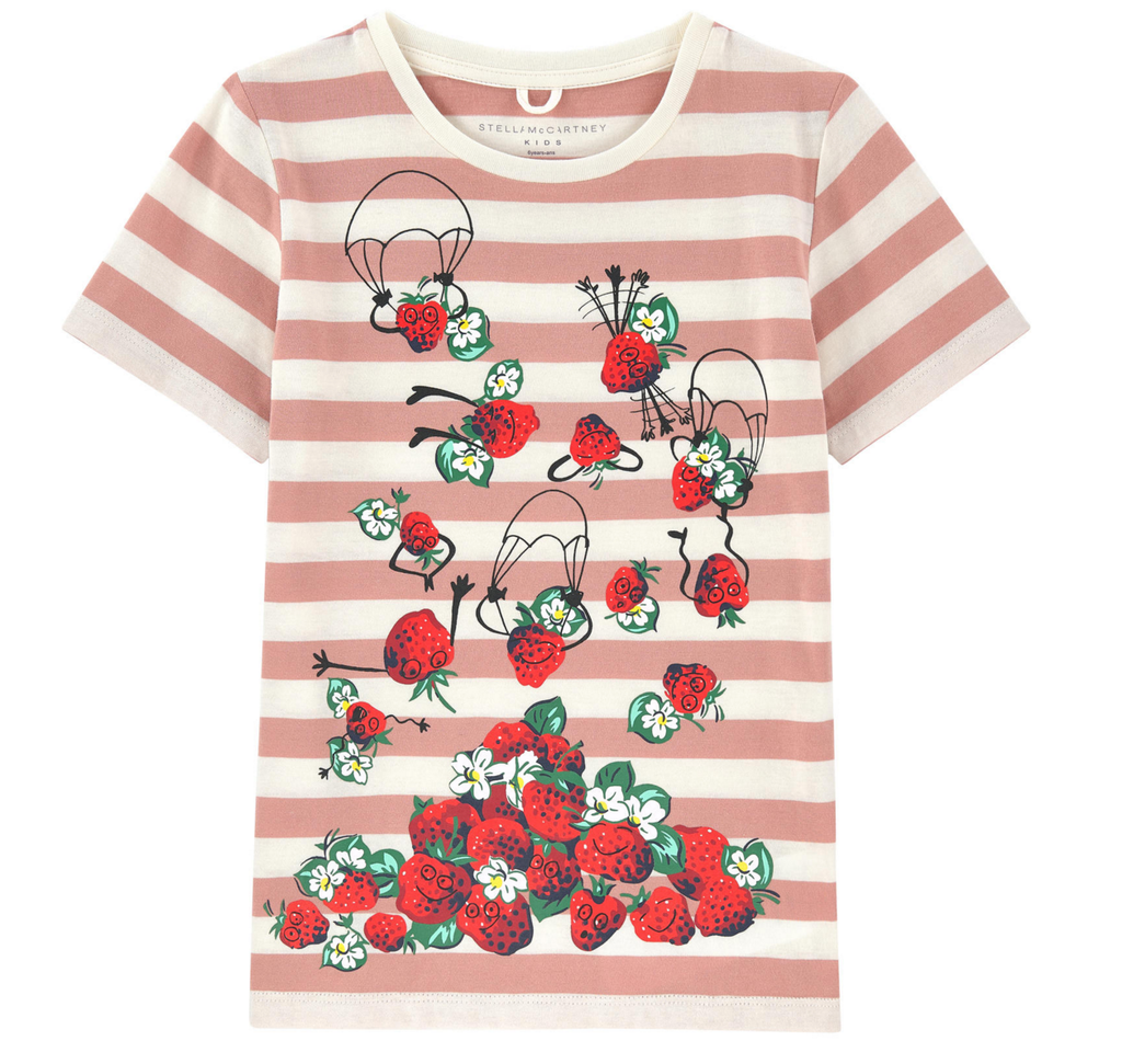 Stella McCartney Girls Pink Striped Strawberry T-Shirt