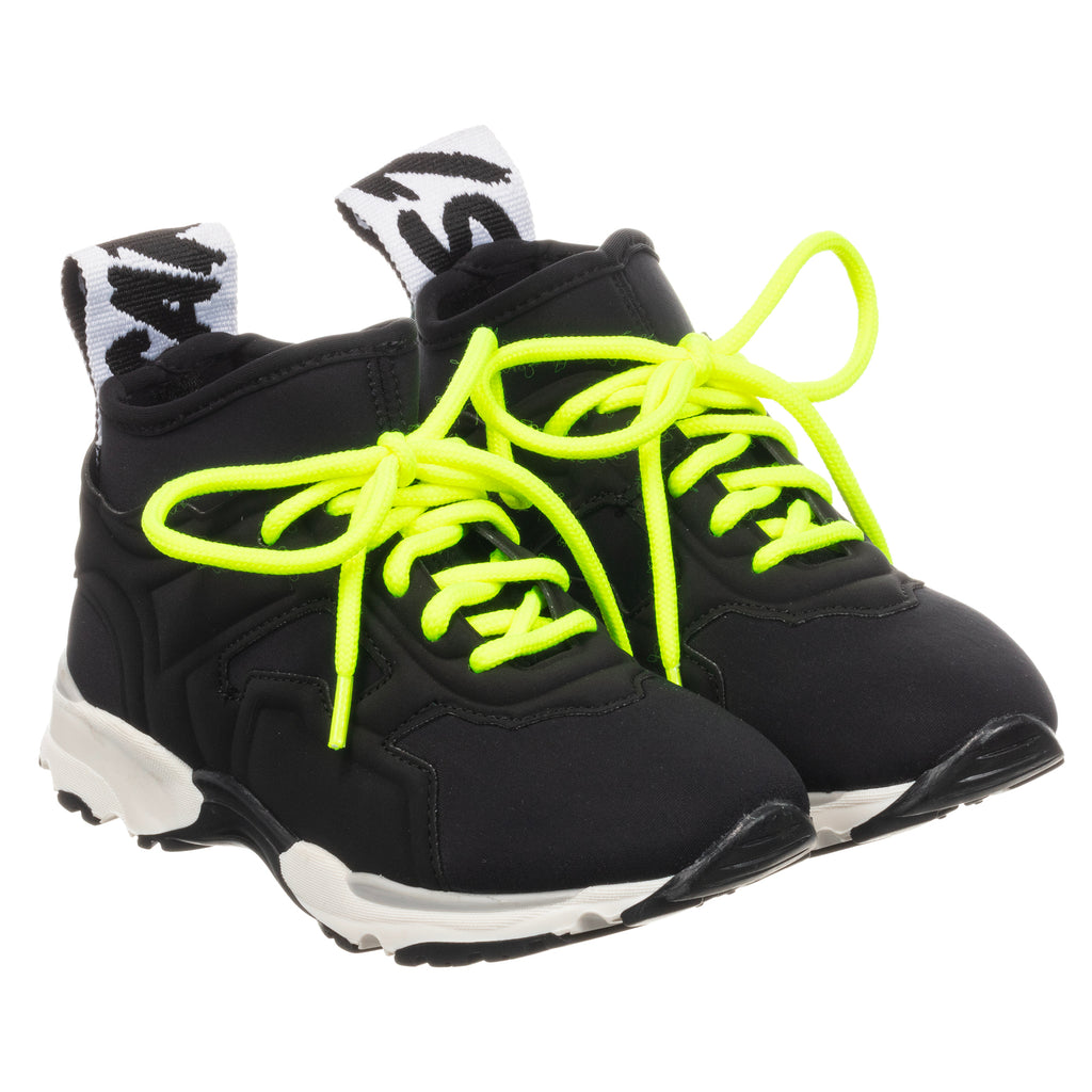 Unisex Black Neon Neoprene Sneakers