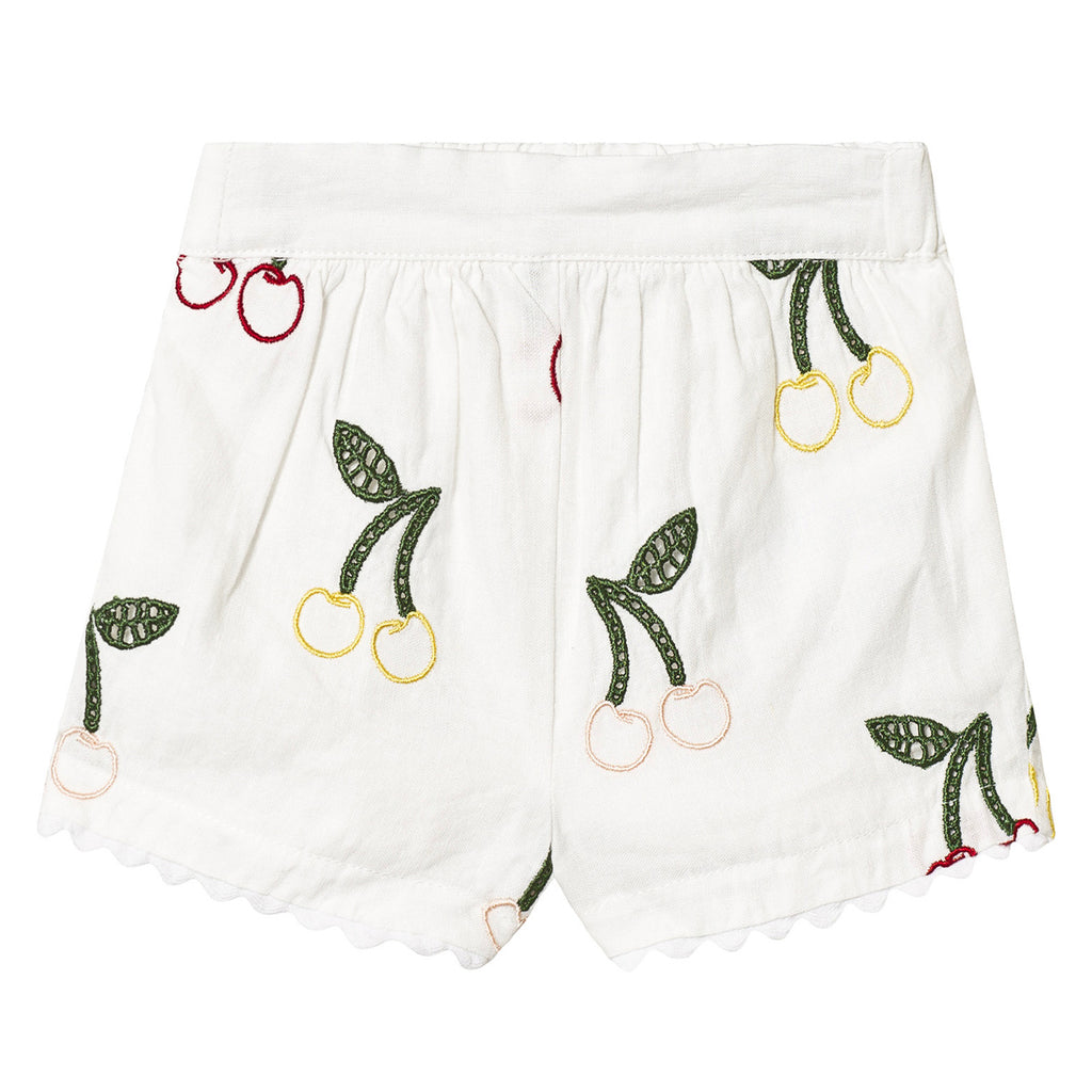 Baby Girls White Cherry Embroidered Linen Shorts