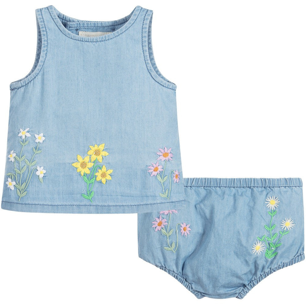Baby Girls Embroidered Flowers Set