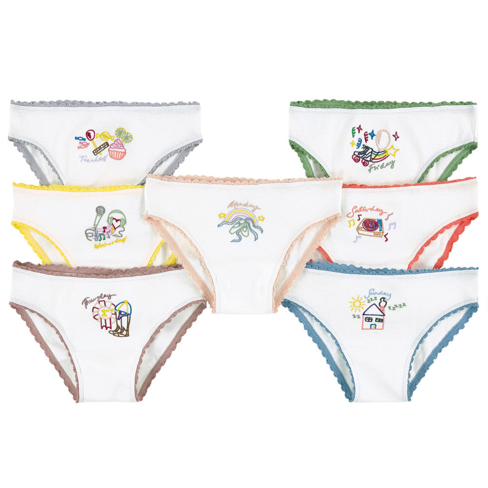 Stella McCartney Girls White Underwear Seven-Pack Gift Set Girls Underwear, Socks & Tights Stella McCartney Kids [Petit_New_York]
