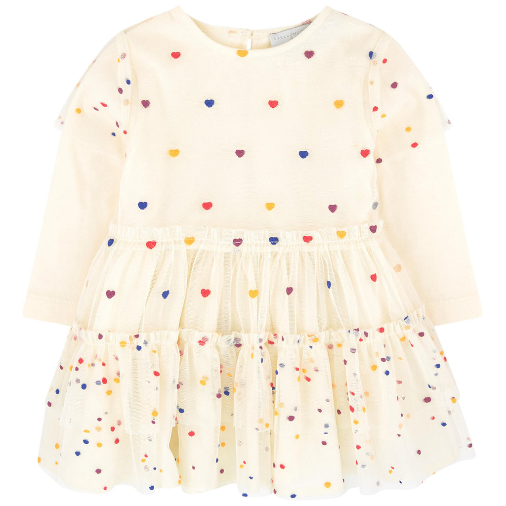 Baby Girls Ivory 'Karina' Tulle Dress with Hearts
