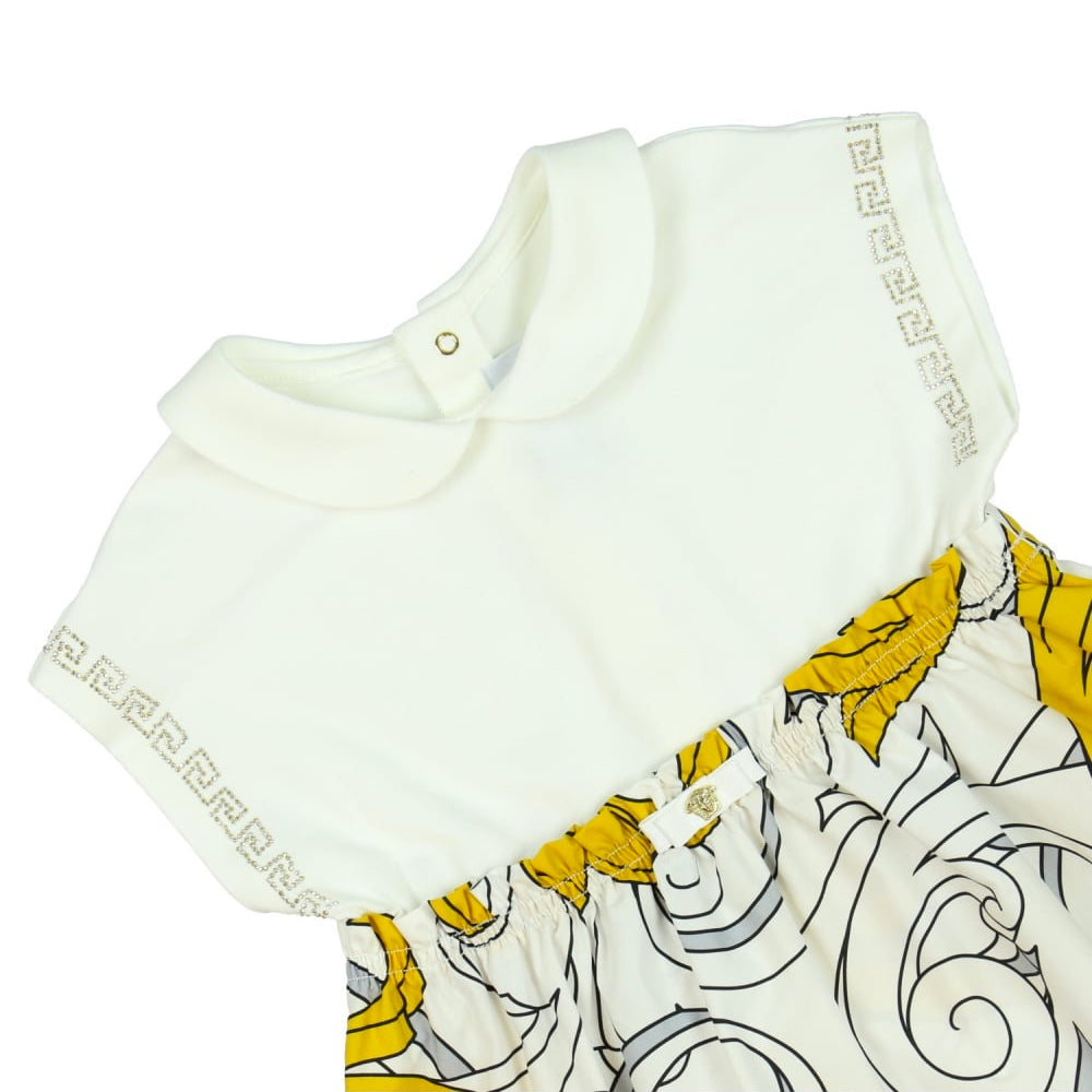 c7a027e9a369 Versace Baby Girls White and Yellow Baroque Dress
