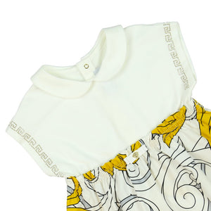 Versace Baby Girls White and Yellow Baroque Dress