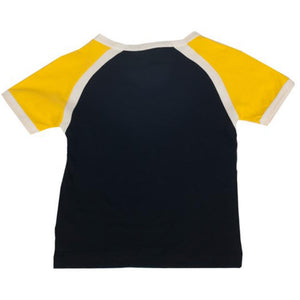 Versace Boys Navy and Yellow Medusa Logo T-shirt Boys T-shirts Young Versace [Petit_New_York]