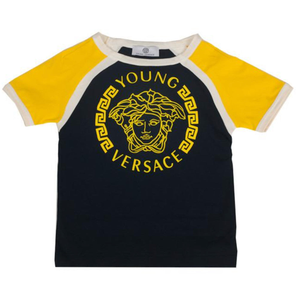 d7dae411 Versace Boys Navy and Yellow Medusa Logo T-shirt Boys T-shirts Young Versace