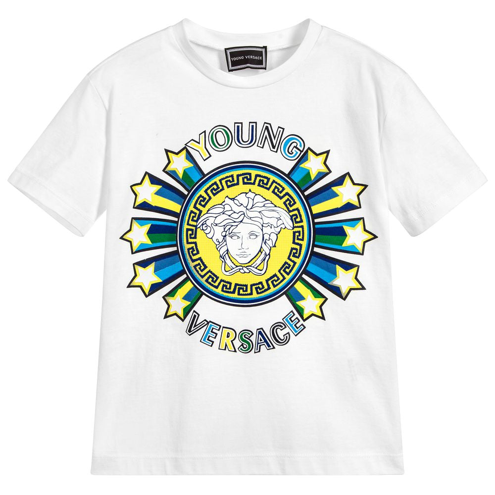 e9ecf7afa5d3 Versace Boys White Colorful Medusa Logo T-shirt – Petit New York