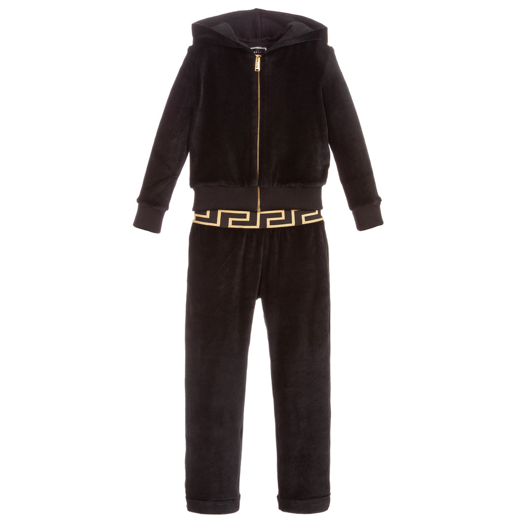 Girls Black Velour Hooded Medusa Logo Tracksuit