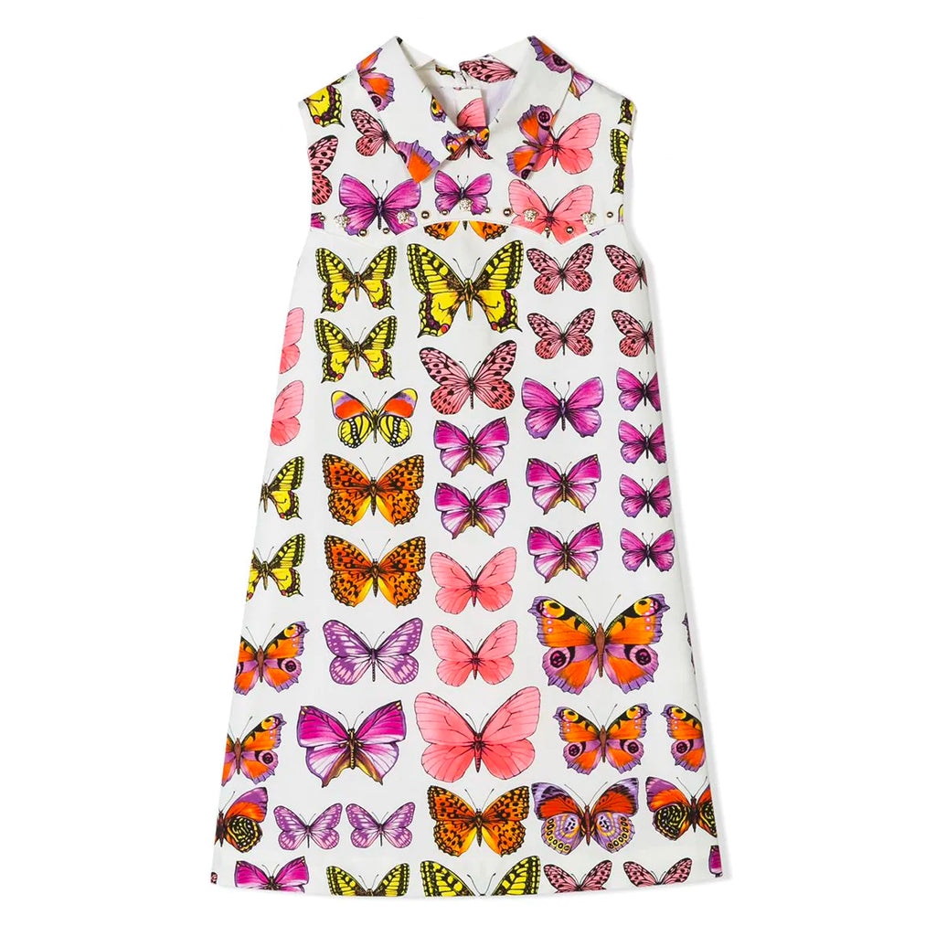 Versace Girls Colorful Butterfly Printed Cotton Dress