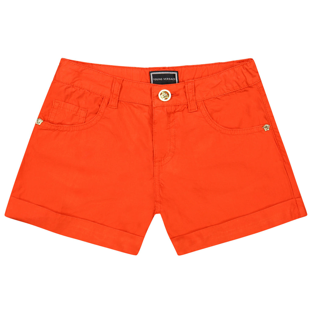 Versace Girls Coral Red Bermuda Shorts