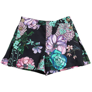 Versace Girls Dark Navy Floral Printed Shorts Girls Shorts Young Versace [Petit_New_York]