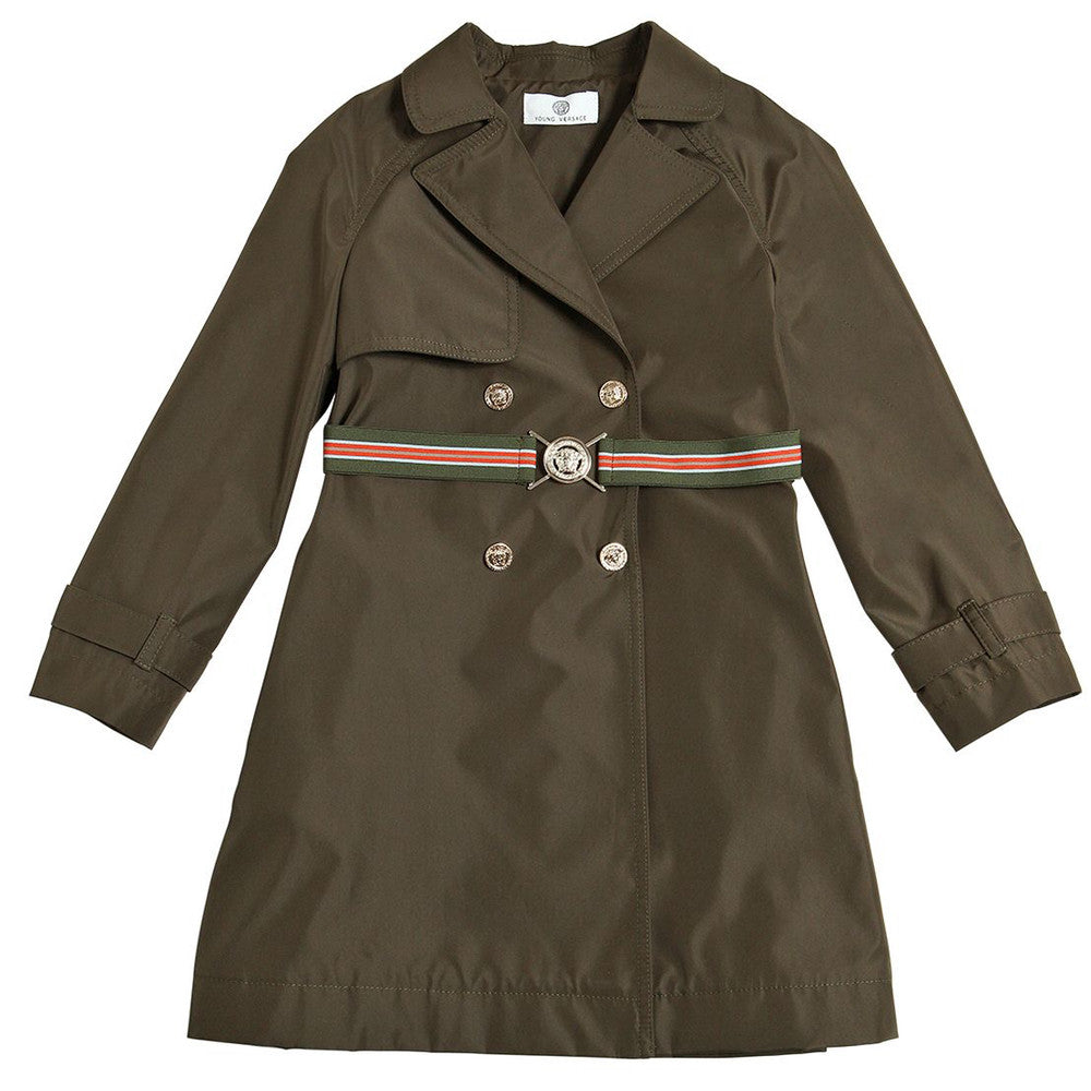 Versace Girls Military Green Trench Coat Girls Jackets & Coats Young Versace [Petit_New_York]