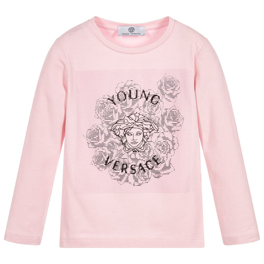 42d2a515 Versace Girls Pink Medusa Logo Top Girls Tops Young Versace [Petit_New_York]