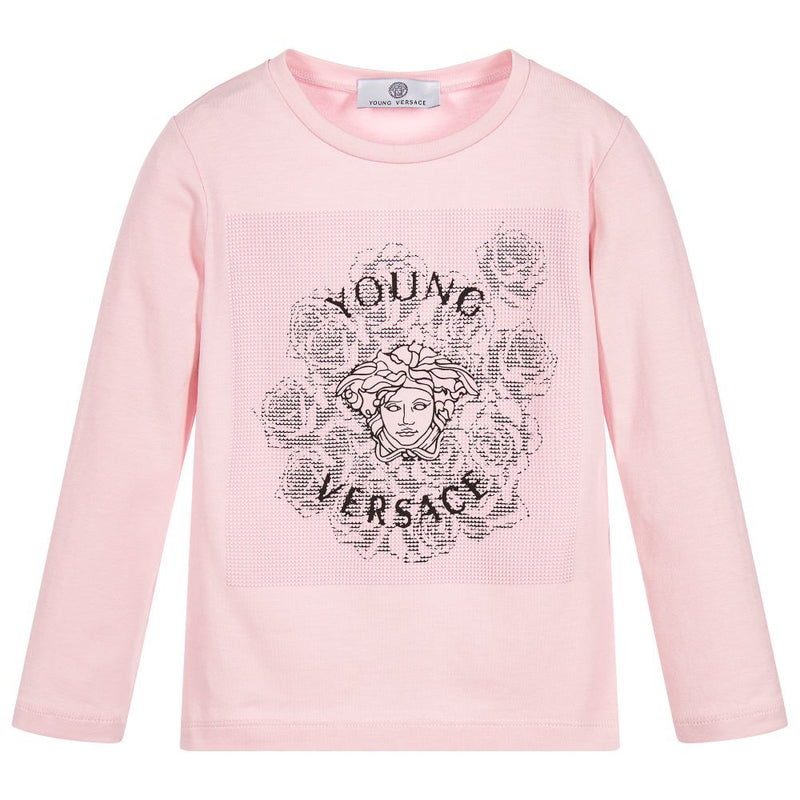 Versace Girls Pink Medusa Logo Top Girls Tops Young Versace [Petit_New_York]