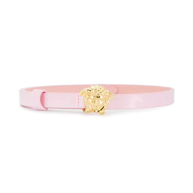 Girls Shiny Pink Belt with Gold Medusa Buckle