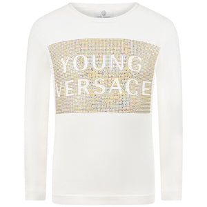 Versace Girls White Studded Shirt Girls Tops Young Versace [Petit_New_York]