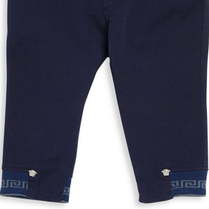 Versace Baby Boys Navy Greca Pants Baby Bottoms Young Versace [Petit_New_York]