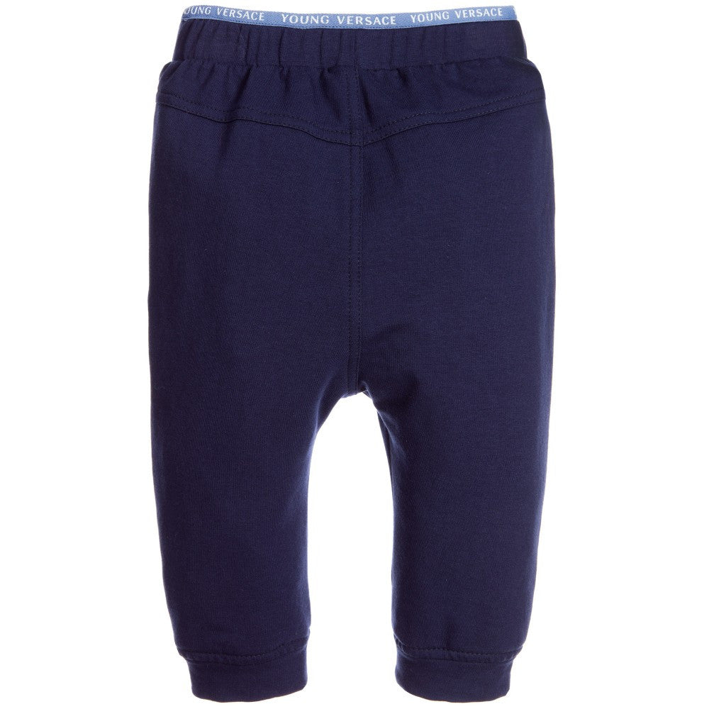 Versace Baby Boys Navy Logo Trimmed Sweatpants Baby Bottoms Young Versace [Petit_New_York]