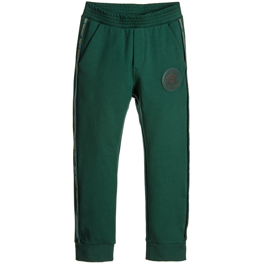 Versace Boys Forest Green Tracksuit Pants Boys Pants Young Versace [Petit_New_York]