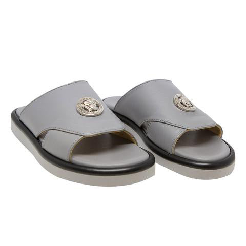 Versace Boys Grey Leather Slide Sandals Boys Shoes Young Versace [Petit_New_York]