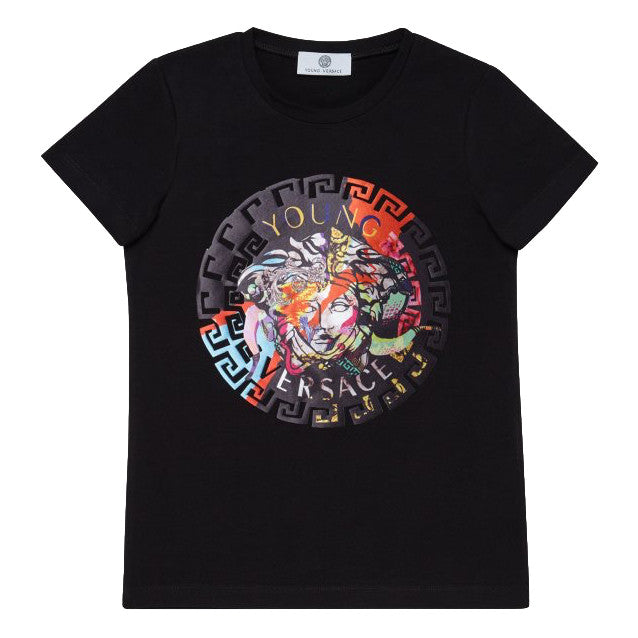 Versace Girls Black Colorful Logo T-shirt Girls Tops Young Versace [Petit_New_York]