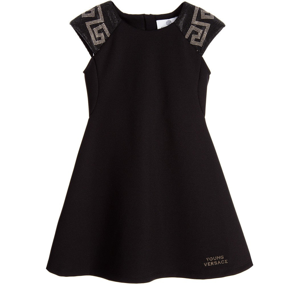 Versace Girls Black Studded Greca Dress Girls Dresses Young Versace [Petit_New_York]