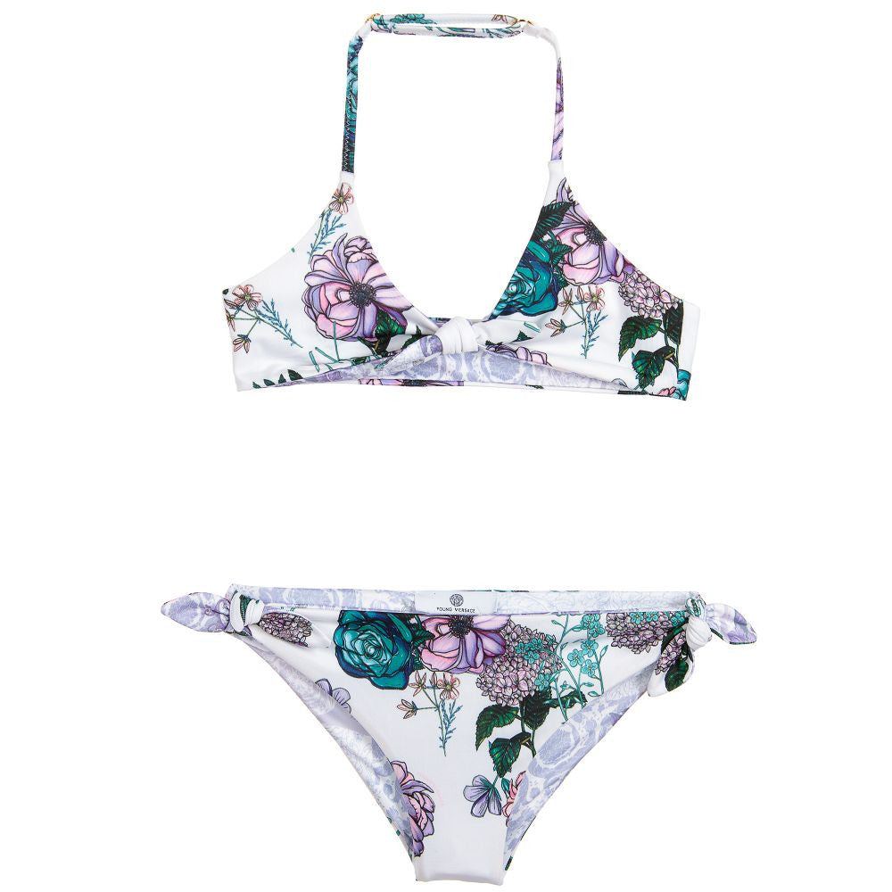 Versace Girls Lilac Floral Bikini Girls Swimwear Young Versace [Petit_New_York]