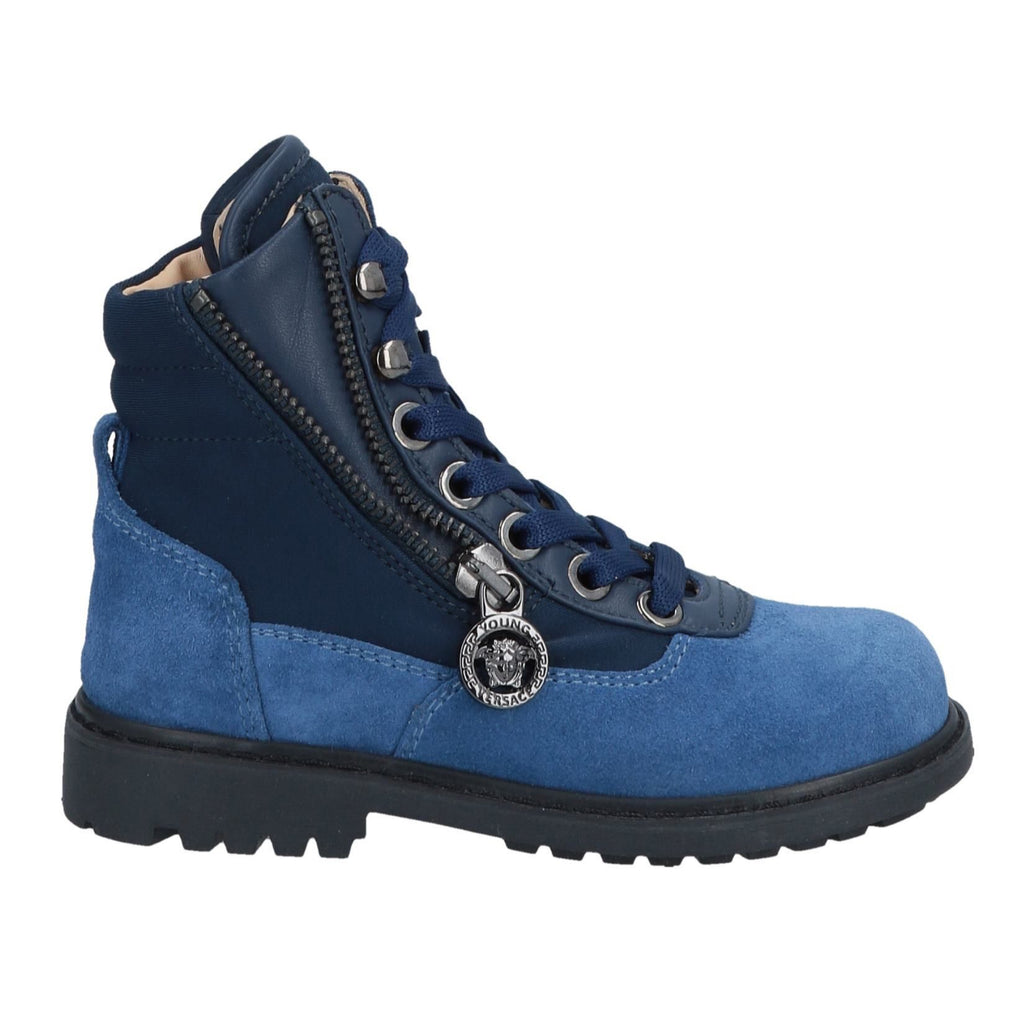 Boys Blue Suede Neoprene Boots