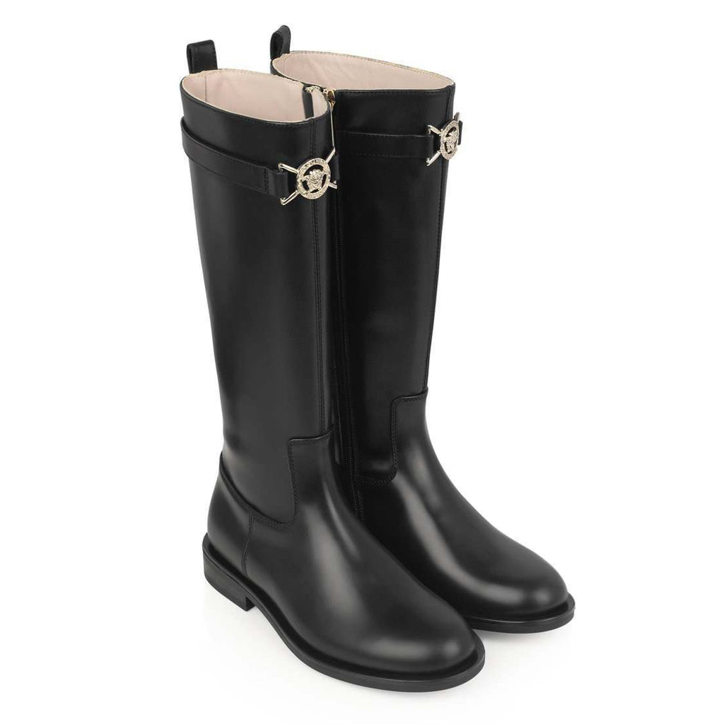 Girls Black Leather Long Boots with Medusa