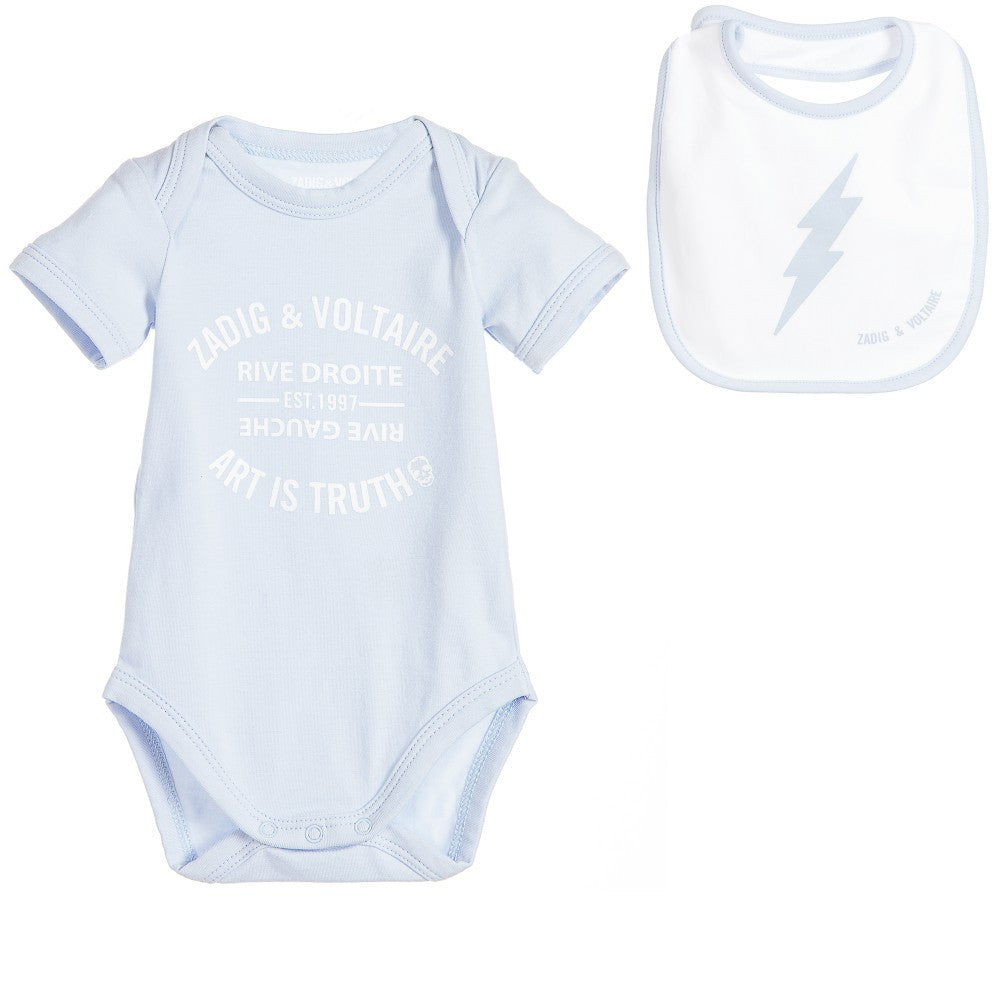 Zadig & Voltaire Baby Blue Romper with Bib Gift Set | New Collection Baby Rompers & Onesies Zadig & Voltaire [Petit_New_York]