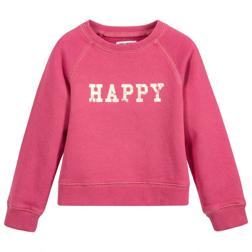 Zadig & Voltaire Girls Pink 'Happy' Sweatshirt (Mini-me) Girls Sweaters & Sweatshirts Zadig & Voltaire [Petit_New_York]