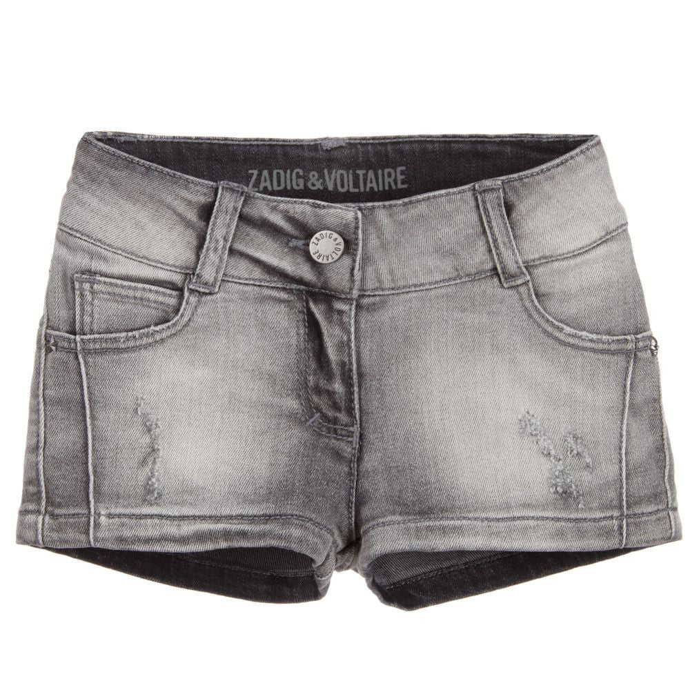 Zadig & Voltaire Girls Distressed Grey Denim Shorts Girls Shorts Zadig & Voltaire [Petit_New_York]