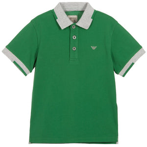 Armani Baby Boys Green Piqué Logo Polo Shirt Baby Polo Shirts Armani Junior [Petit_New_York]