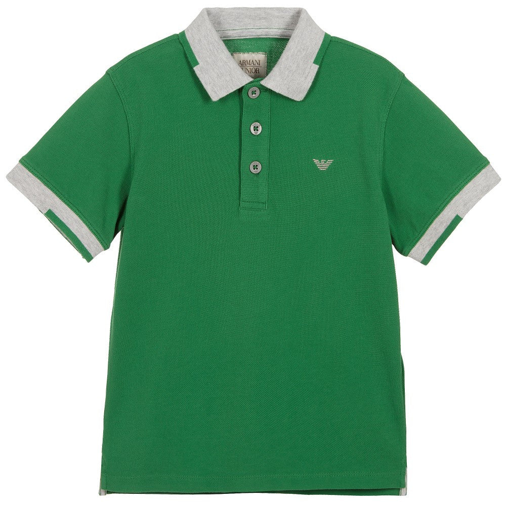 Armani Boys Green Piqué Polo Shirt Boys Polo Shirts Armani Junior [Petit_New_York]