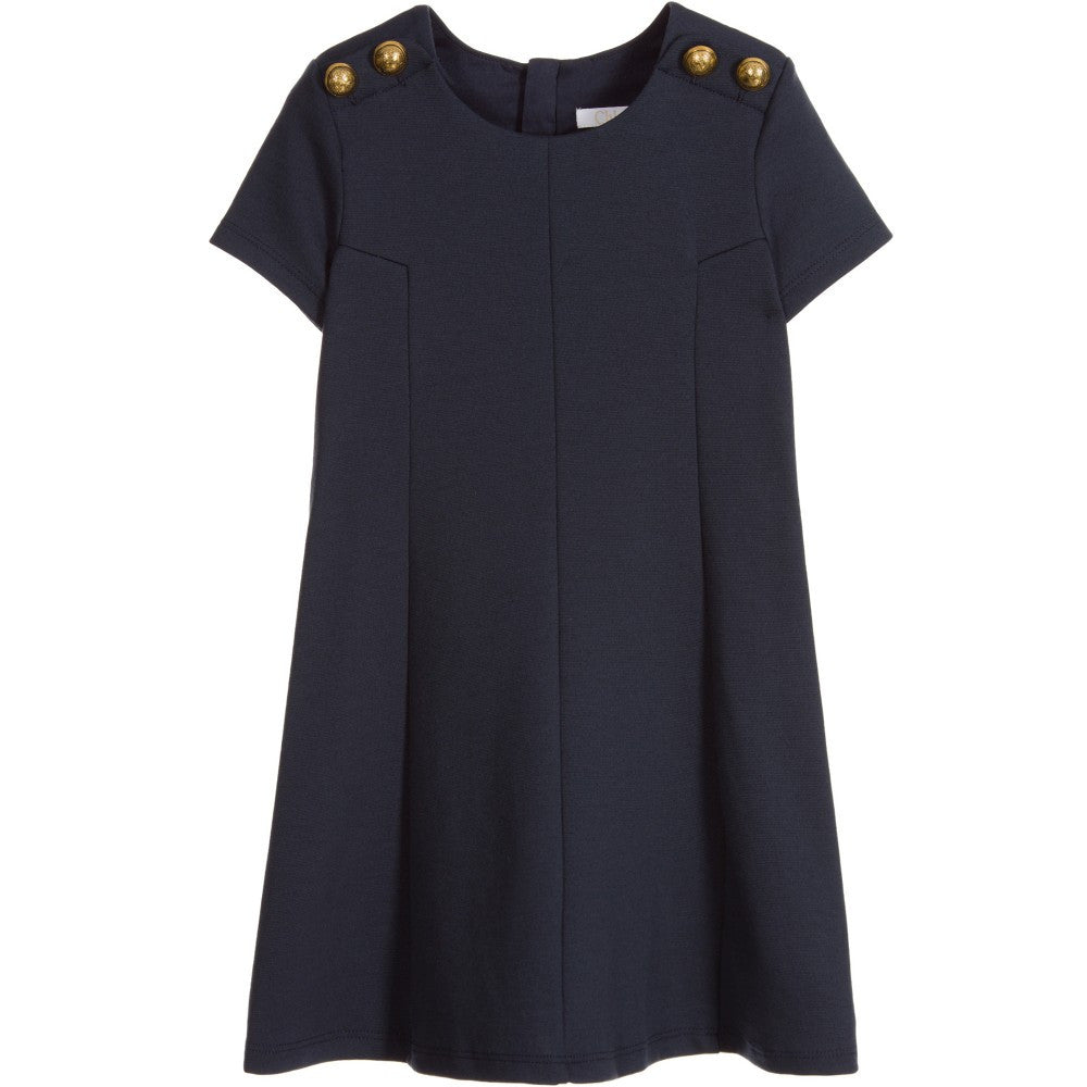 Chloé Girls Fancy Navy Blue Dress Girls Dresses Chloé [Petit_New_York]