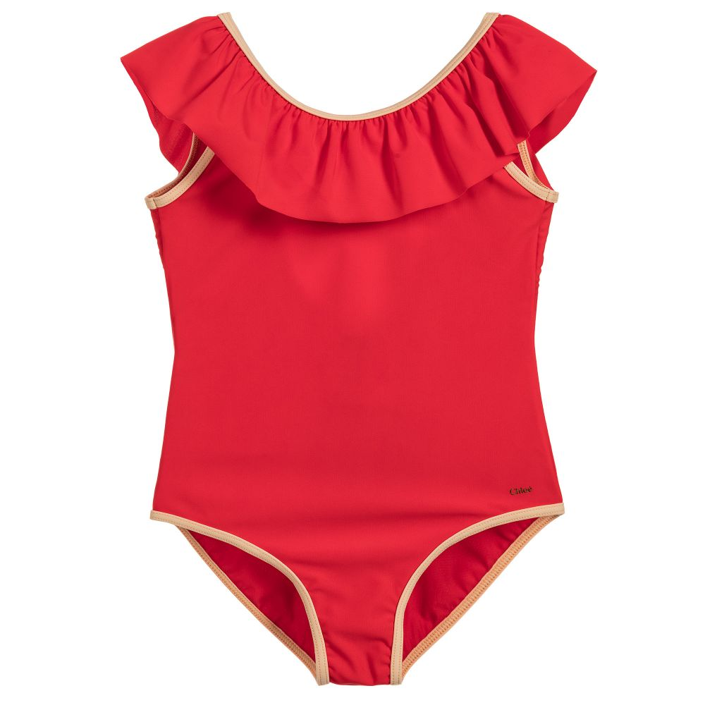 Girls Luxury Red Ruffled Swimsuit
