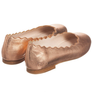 Chloe Girls Rose Gold Leather Ballerina Flats (Mini-me) Girls Shoes Chloé [Petit_New_York]
