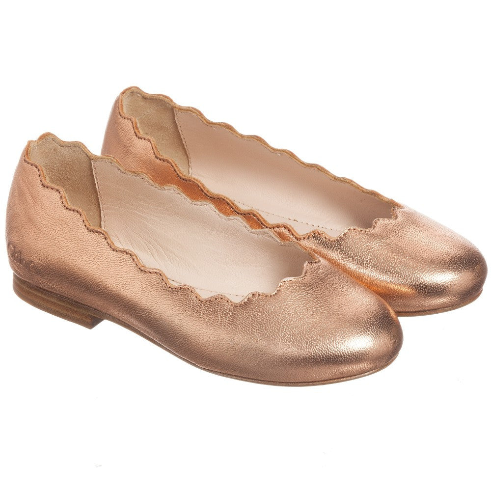 3790b82b112 Chloe Girls Rose Gold Leather Ballerina Flats (Mini-me) Girls Shoes Chloé