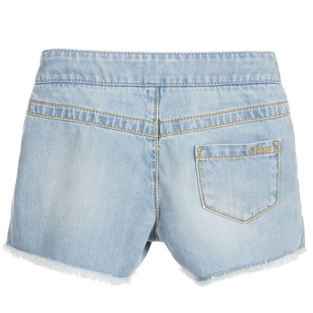 Chloe Girls Denim Shorts (Mini-me) Girls Shorts Chloé [Petit_New_York]