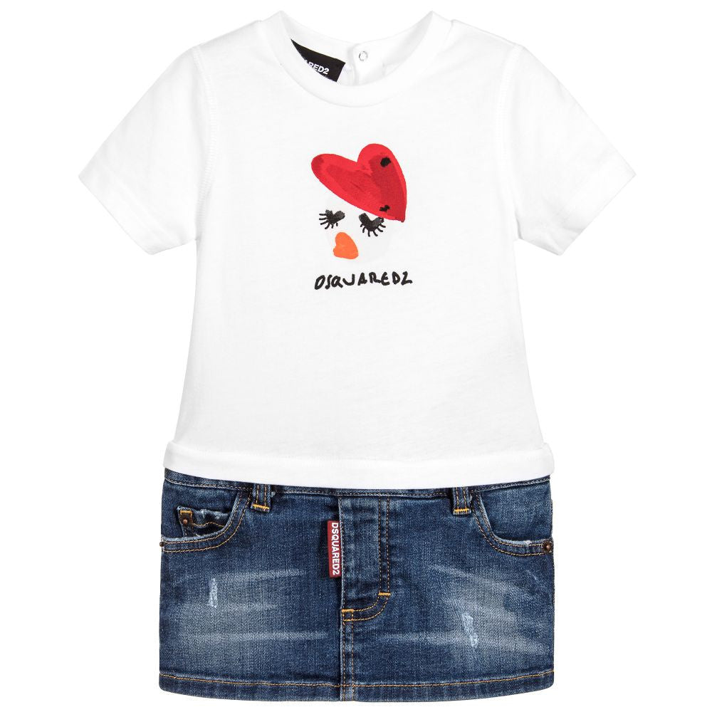 Dsquared2 Baby Girls White Top & Denim Bottom Dress Baby Dresses Dsquared2 [Petit_New_York]