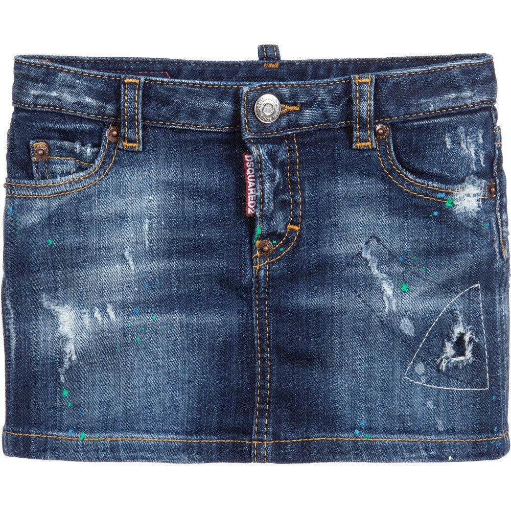Dsquared2 Girls Distressed Denim Mini Skirt Girls Skirts Dsquared2 [Petit_New_York]