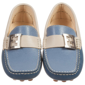 Fendi Boys Blue and Ivory Fancy Loafers Boys Shoes Fendi [Petit_New_York]